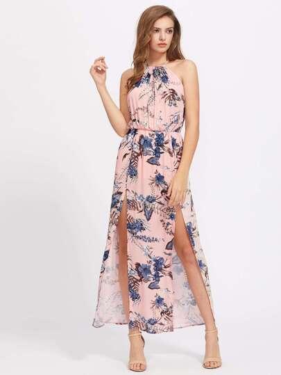 Halterneck M Slit Floral Print Maxi Dress