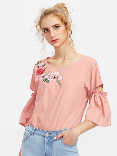 Embroidered Flower Patch Cutout Bell Sleeve Top