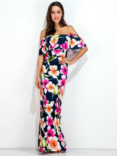 Allover Florals Flounce Layered Neckline Dress