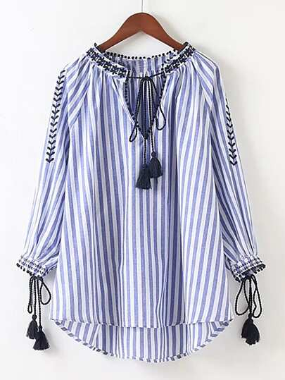 Vertical Striped Embroidery Tassel Tie High Low Blouse