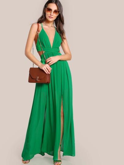 Tie Up Flowy Dress GREEN