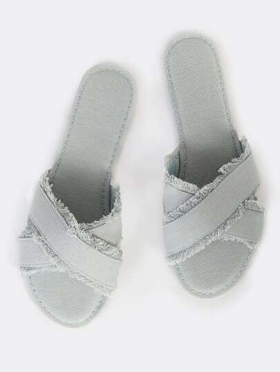 Cross Band Frayed Denim Sandals LIGHT DENIM