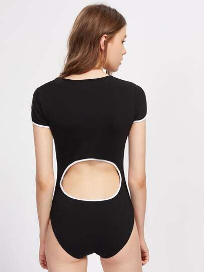 Contrast Binding Cut Out Waist Back Bodysuit