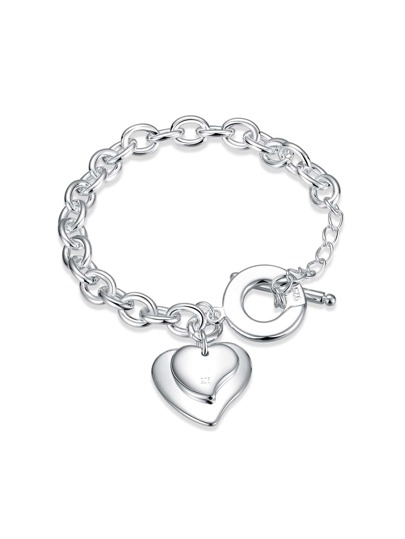 Double Heart Detail Link Bracelet