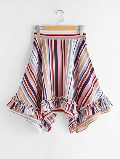 Frill Detail Striped Handkerchief Skirt