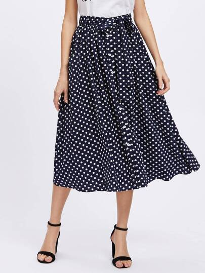 Button Up Polka Dot Belt Skirt