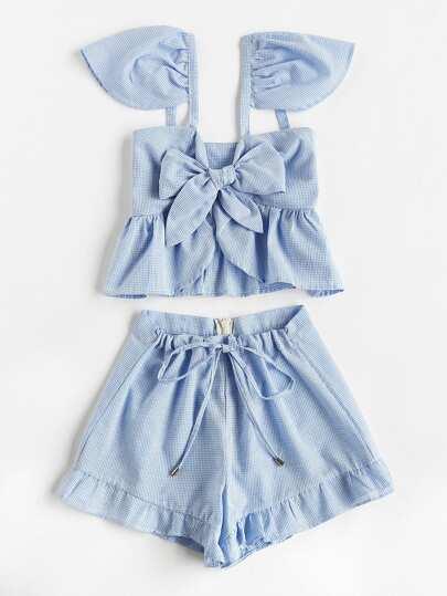 Camisole péplum à carreaux avec nœuds papillon &Shorts