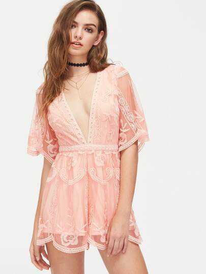 Plunge Neck Scalloped Embroidered Tulle Overlay Romper