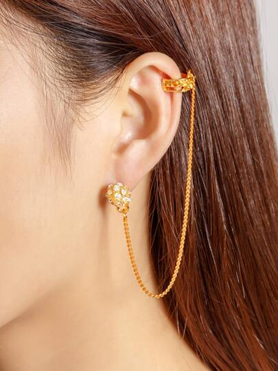 Rhinestone Chain Design Ear Cuff 1pcs