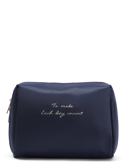 Slogan Print Makeup Case