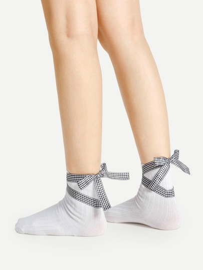 Gingham Lace Up Socks