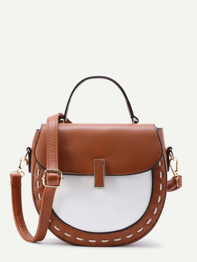 Two Tone Flap PU Shoulder Bag
