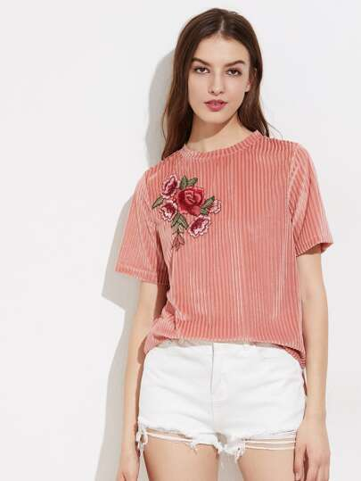 Flower Applique Stepped Hem Striped Velvet Tee