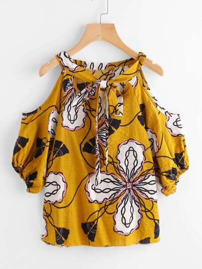 Open Shoulder Tie Front Ditsy Print Blouse