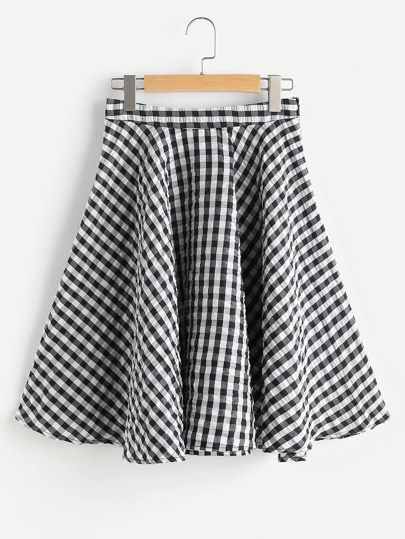 Zip Side Textured Gingham Circle Skirt