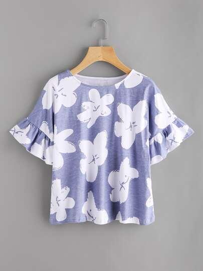 Camiseta con estampado al azar
