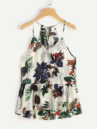 Camisola con estampado tropical y espalda con cordón