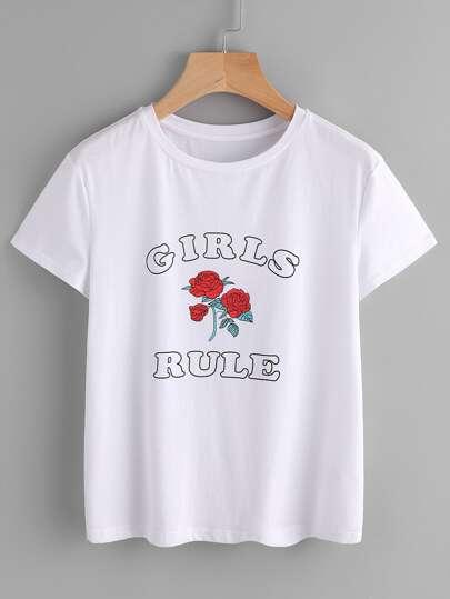 """T-shirt con stampa di """"girl rule """""""