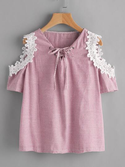 Crochet Applique Trim Open Shoulder Lace Up Pinstriped Top