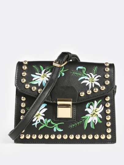 Embroidered Stud Crossbody Bag BLACK
