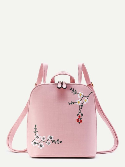 Plum Blossom Embroidery PU Backpack