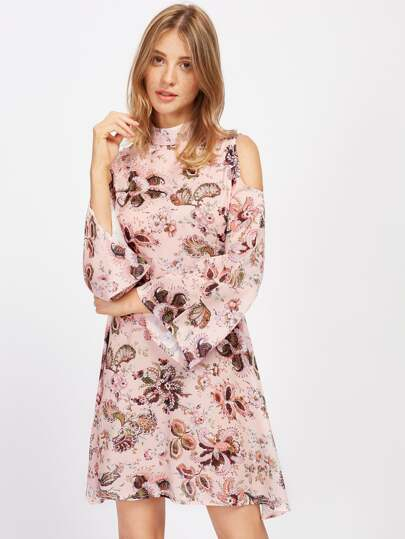 Open Shoulder Bell Sleeve Floral Dress