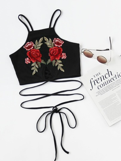 Crisscross Tie Detail Embroidered Appliques Ribbed Crop Cami Top