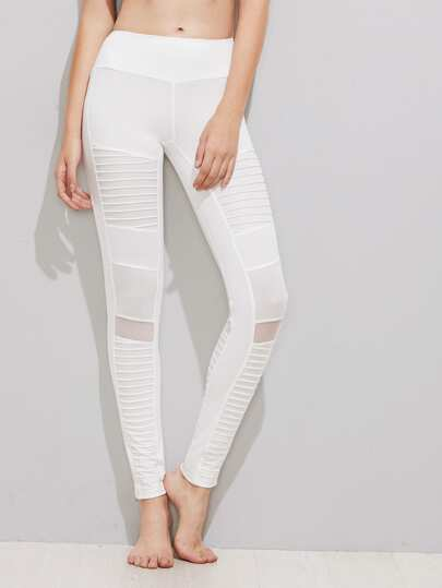 Mesh Insert Pleated Stitch Detail Leggings