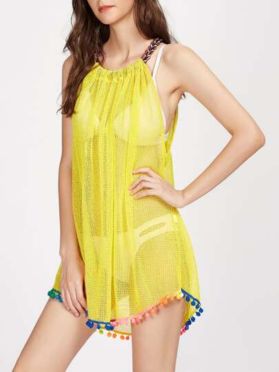 Weave Strap Pom Pom Hem Hollow Cover Up