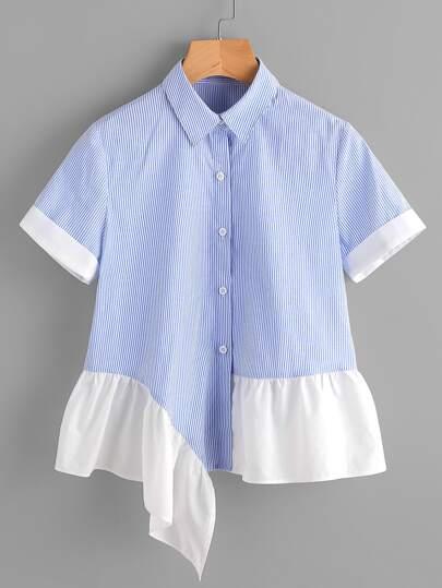 Asymmetric Contrast Frill Hem Striped Shirt