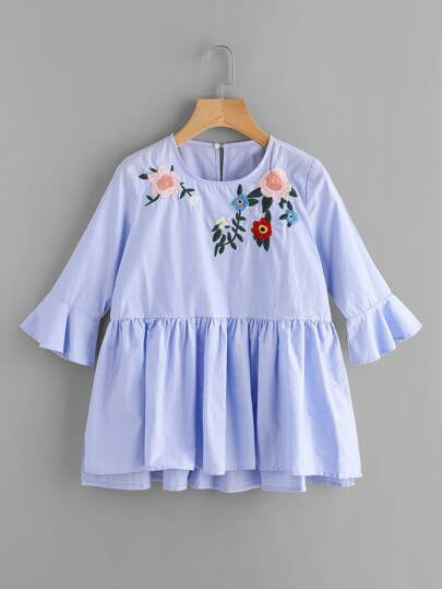 Embroidery Frill Cuff Smock Blouse