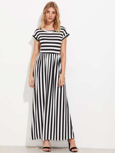 Contrast Striped Full Length Dress