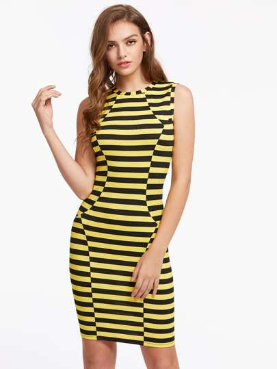 Rib Knit Striped Paneled Dress