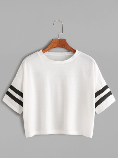 White Dropped Shoulder Seam Varsity Striped Crop T-shirt