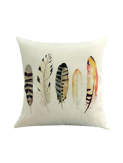 Watercolor Feather Print Pillowcase Cover