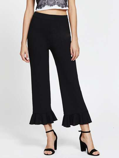 Ruffle Hem Tailored Wide Leg Pants