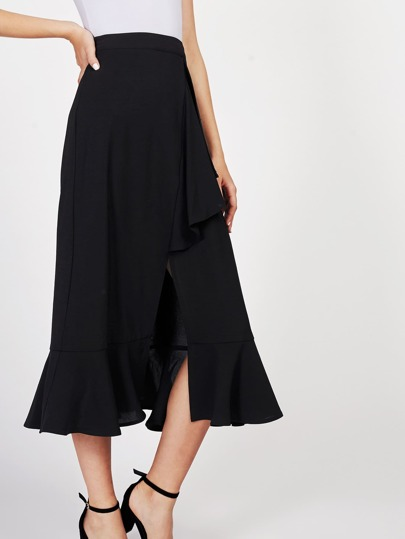 V Notch Front Ruffle Trim Skirt