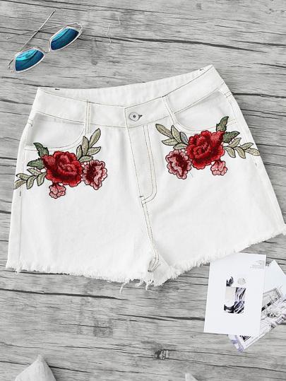 Shorts mit Stickereien und Roseappliaktion