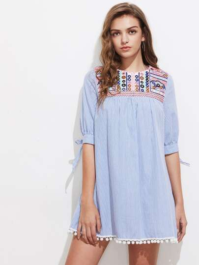 Embroidered Yoke Tie Sleeve Pom Pom Trim Dress