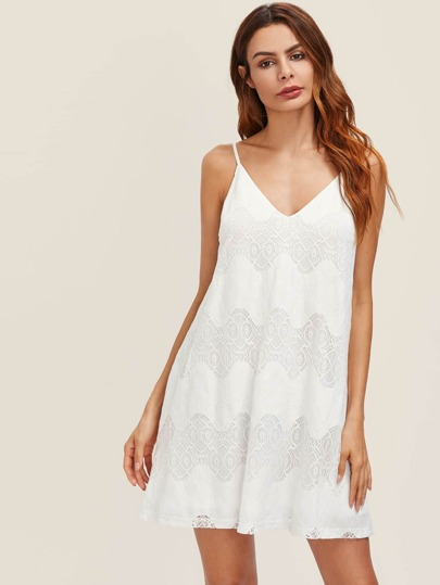 V Back Wave Lace Swing Cami Dress
