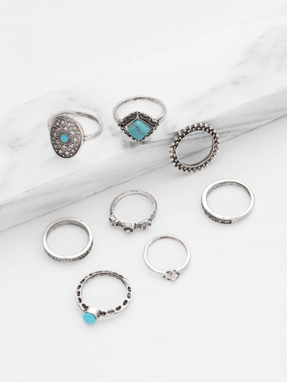 Turquoise Detail Multi Shaped Ring Set 8pcs