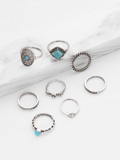 8 piezas de anillo con detalle de turquesa