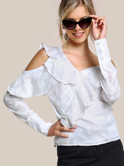 Textured Cold Shoulder Shirt WHITE