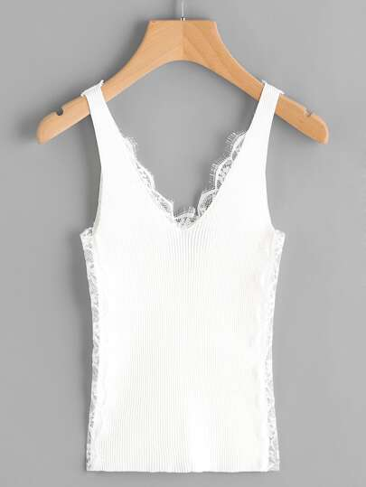 Eyelash Lace Panel Double V Ribbed Tank Top