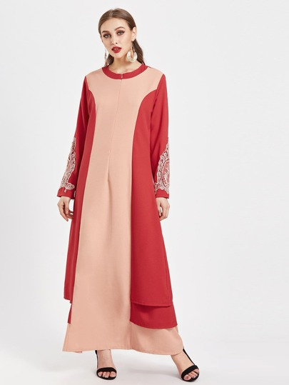 Contrast Panel Layered Side Crochet Appliques Kaftan Dress