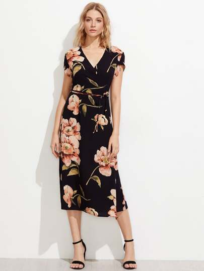 Random Florals Petal Sleeve Chiffon Dress