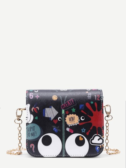 Eye And Zipper Print Flap Bag