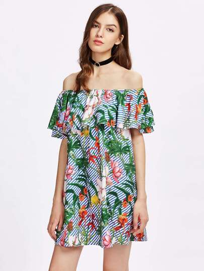 Tropical Print Flounce Bardot Dress