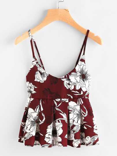 Camisole imprimée fleuri avec des plis