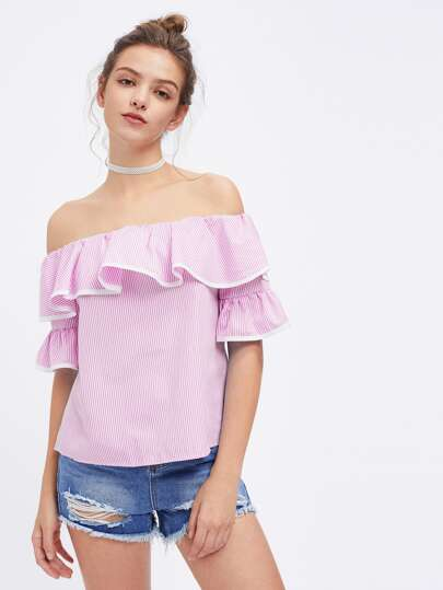 Contrast Trim Flounce Layered Pinstripe Top